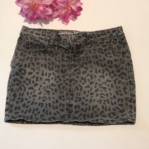 Kid's leopard jean skirt